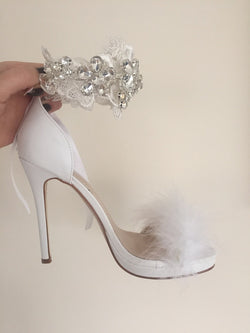 Angel Crystal Feather White Heels