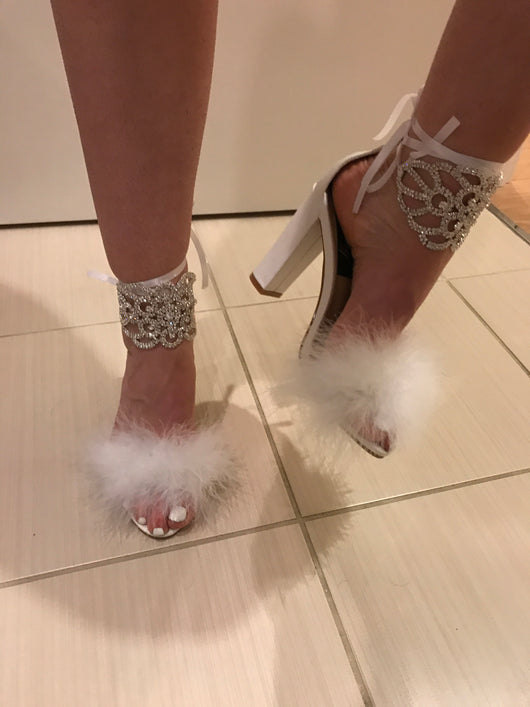 Crisabella White Feather Block Heels