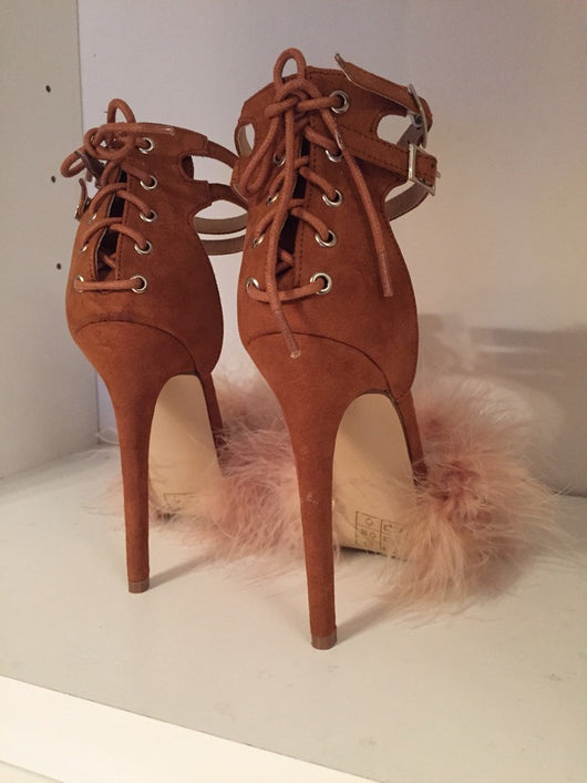Amber - Rose Tan Feather Heels