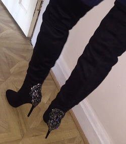 Divinia Black Thigh High Boots