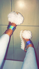 SAMPLE Niala White Floral Wedges