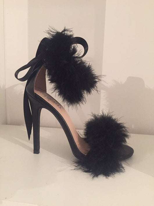 Black Ivy Feather Heels