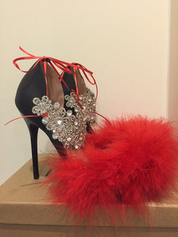 Amoura Red Feather Heels