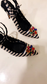 Candy Stripes Crystal Heels