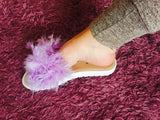 Lilac Large Feather Sliders