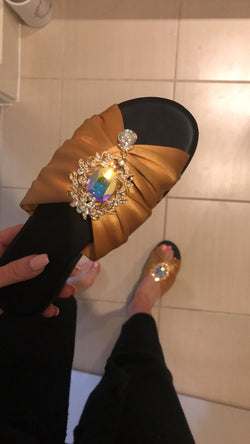 Huda Satin Gold Crystal Flats