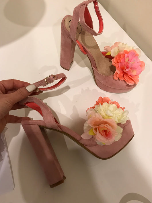 SAMPLE Posy Blush Floral Block Heels