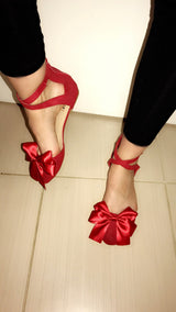 Anouska Red Bow Flats
