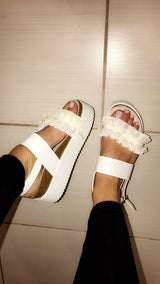 Miami White Ruffle Wedges