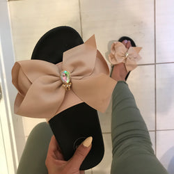Sorrento Nude Bow Sliders