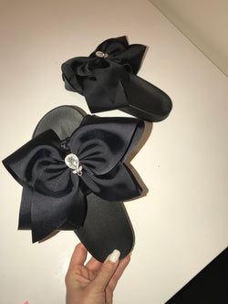 Sadie Noir Bow Sliders