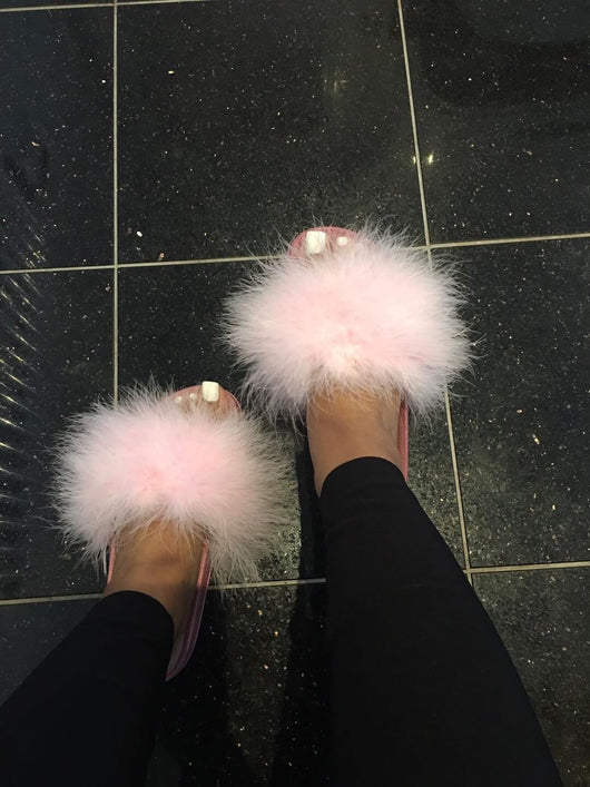 Candy Luxe Feather Slides
