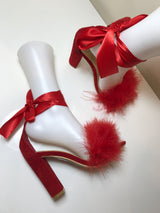Rania Red Feather Ribbon Heels