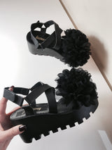 Enigma Black Floral Wedge