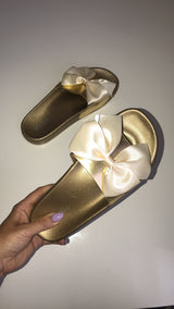 Lourdes Creme Satin Bow Slides