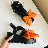 Tangerine Bow Wedges