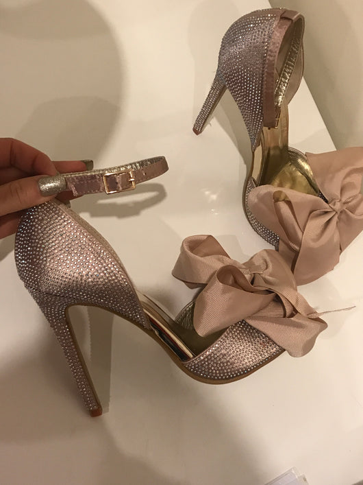 SAMPLE Copy of Holly Nude Crystal Bow Heels