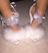 Angelique Roma White Crystal Heels