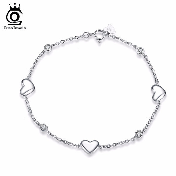 Sterling Silver Bracelet for Women with 3 Pieces Genuine 925 Silver Heart Charm Bracelets