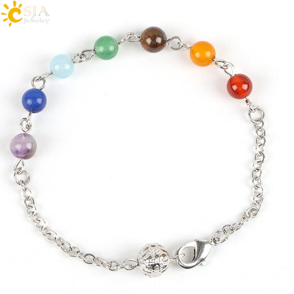 Reiki Prayer Stone Jewelry Link Chain Bracelet