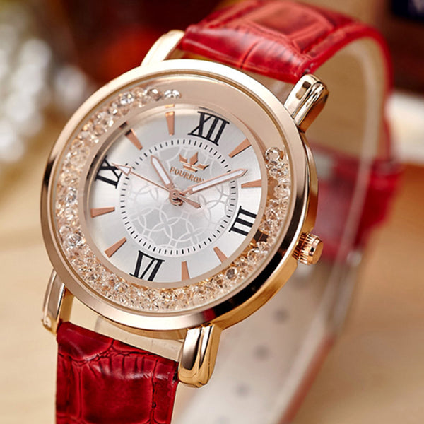 Rose Gold Crystal Rhinestone Leather Casual Watch