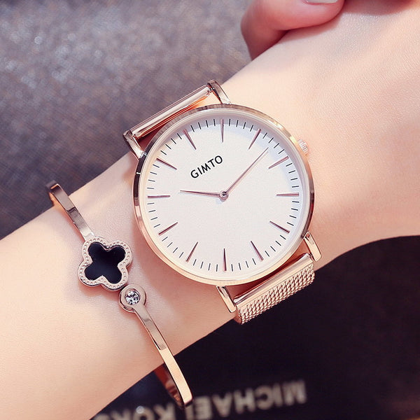 Stainless Steel Rose Gold Watch