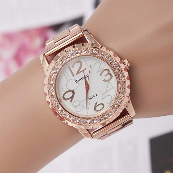 Rose Gold Luxury Stainless Steel Wristwatch
