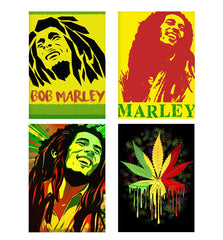Set of 4 posters with designs like Black bob Marley  Decorate your walls, wardrobes with these 12 inches * 18 inches posters