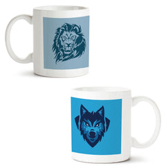 Set of 2 printed white coffee mugs with designs like: Set-of-2-printed-white-coffee-mugs-with-designs-like:-Lion-sketch-design-|-11-ounce-mugs | 11 ounce mugs