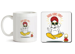 1 mug and 1 coaster with design as: Good vibes only gyaan dog  design,   330 ml mug and 4 inches coaster
