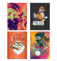 Set of 4 posters with designs like Smoke your problems away Decorate your walls, wardrobes with these 12 inches * 18 inches posters