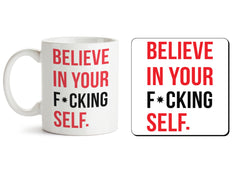 1 mug and 1 coaster with design as: Believe in your Self  330 ml mug and 4 inches coaster