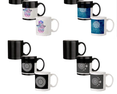 Ethnic pattern on palm design 330 ml black magic mugs| Design appears when hot water is poured.