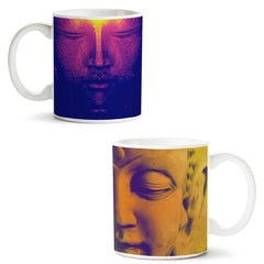 Set of 2 printed white coffee mugs with designs like: Set-of-2-printed-white-coffee-mugs-with-designs-like:-Half-red-face-sculpture---|-11-ounce-mugs | 11 ounce mugs