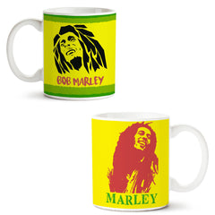 Set of 2 printed white coffee mugs with designs like: Set-of-2-printed-white-coffee-mugs-with-designs-like:-Black-bob-Marley---|-11-ounce-mugs | 11 ounce mugs