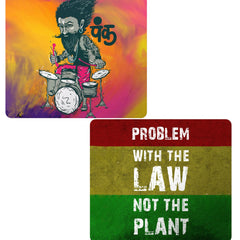 Set of 2 printed mousepads with designs like Punk baba drumroll  design,