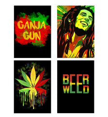 Set of 4 posters with designs like Ganja Gun being high Decorate your walls, wardrobes with these 12 inches * 18 inches posters