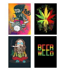Set of 4 posters with designs like Punk baba drumroll  design,  Decorate your walls, wardrobes with these 12 inches * 18 inches posters