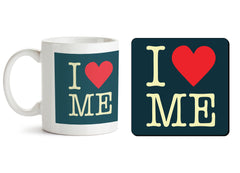 1 mug and 1 coaster with design as: I love myself design  330 ml mug and 4 inches coaster