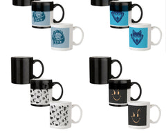 Lion sketch design 330 ml black magic mugs| Design appears when hot water is poured.