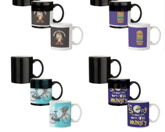Magnify Your Happiness funny design  330 ml black magic mugs| Design appears when hot water is poured.