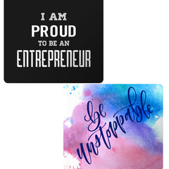 Set of 2 printed mousepads with designs like I am proud to be an entrepreneur  design,