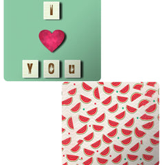 Set of 2 printed mousepads with designs like I love you design