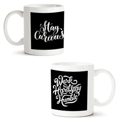 Set of 2 printed white coffee mugs with designs like: Set-of-2-printed-white-coffee-mugs-with-designs-like:-Be-curious-design--|-11-ounce-mugs | 11 ounce mugs