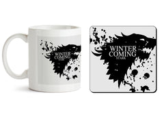 1 mug and 1 coaster with design as: GOT Winter is coming design  330 ml mug and 4 inches coaster