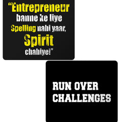 Set of 2 printed mousepads with designs like Entrepreneur banne ke liye spelling chahiye spirit chahiye