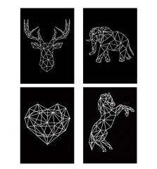 Set of 4 posters with designs like Geometrical reindeer designDecorate your walls, wardrobes with these 12 inches * 18 inches posters