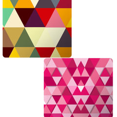 Set of 2 printed mousepads with designs like Awesome colourful triangles abstract design