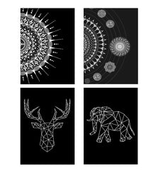 Set of 4 posters with designs like Ethnic design on black patternDecorate your walls, wardrobes with these 12 inches * 18 inches posters