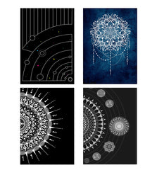 Set of 4 posters with designs like Abstract space designDecorate your walls, wardrobes with these 12 inches * 18 inches posters